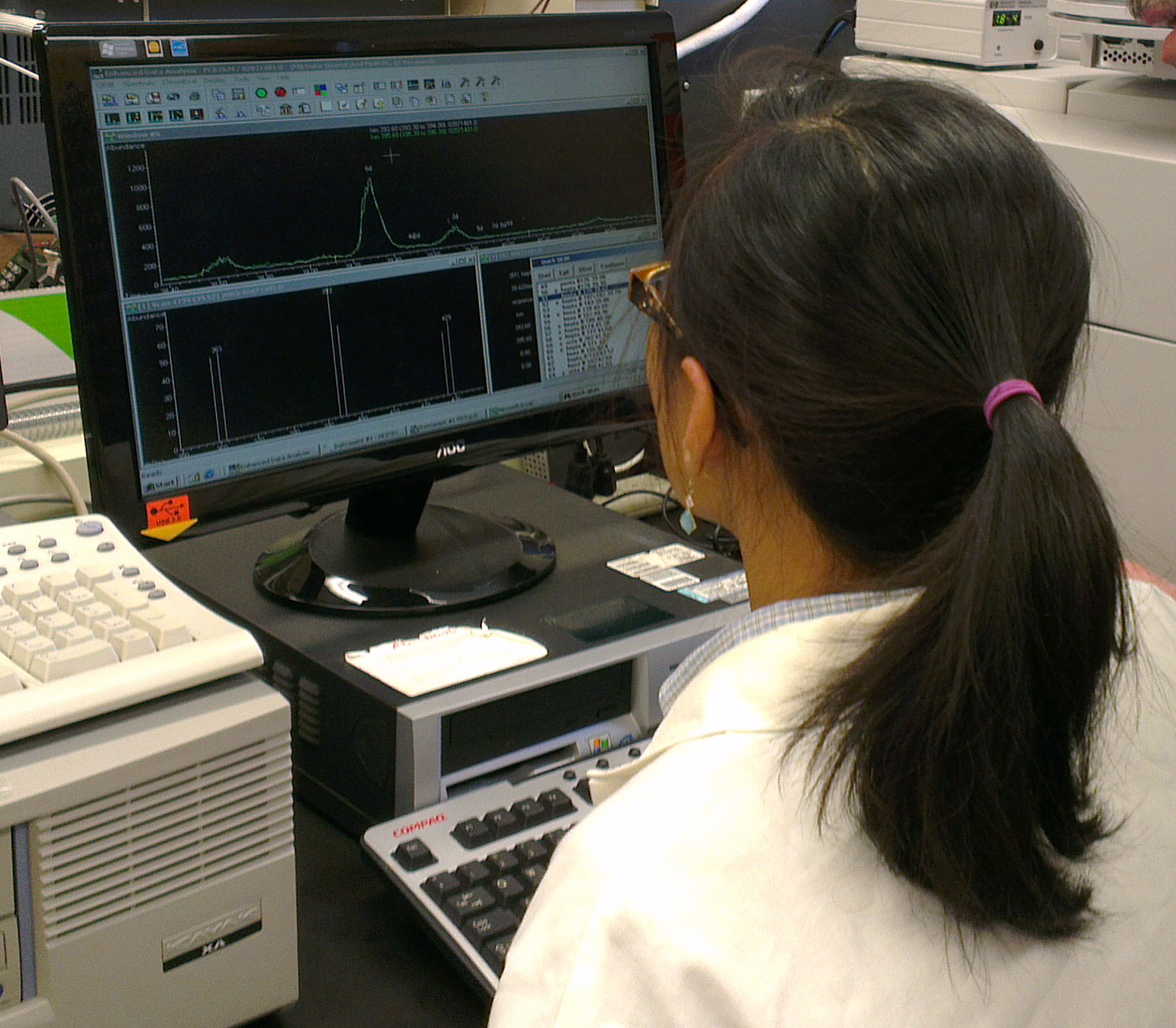 For analyte separation and quantification we use a Hewlett-Packard HP 5973 gas chromatograph/ mass spectrometry.  The detector is a mass-selective detector operated in the negative chemical ionization, selected-ion monitoring mode.  Chromatogram analyzed by chemists from SPH, represents the pesticide fraction of persistent organic contaminants.
