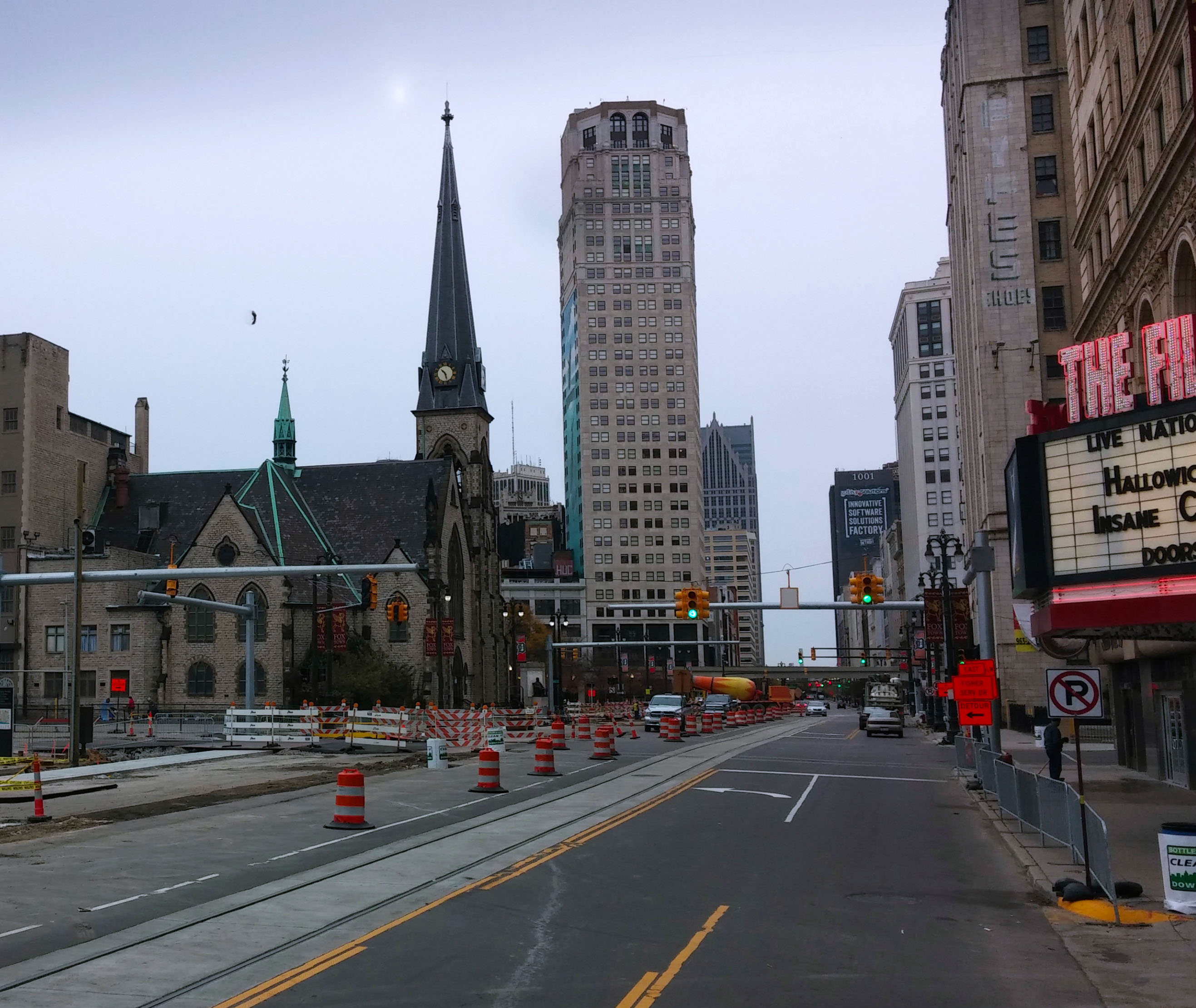 View of Woodward Avenue as the tour heads towards Detroit's Hart Plaza