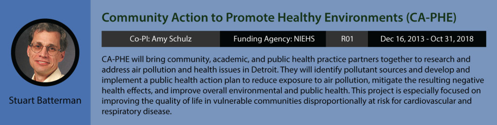 Stuart Batterman's current research. Community Action to Promote Healthy Environments, or CA-PHE. Co-PI is Amy Schulz. Funding Agency is NIEHS, grant is R01, funding period is December 16, 2013 to October 31, 2018. CA-PHE will bring community, academic, and public health practice partners together to research and address air pollution in health issues in Detroit. They will identify pollutant sources and develop and implement a public health action plan to reduce exposure to air pollution, mitigate the resulting negative health effects, and improve overall environmental and public health. This project is especially focused on improving the quality of life in vulnerable communities disproportionately at risk for cardiovascular and respiratory disease.