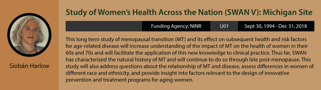 Sioban Harlow's current research. Study of Women's Health Across the Nation, or SWAN V): Michigan Site. Funding agency is NINR. Grant is U01. Funding period is September 30, 1994 to December 31, 2018. This long term study of menopausal transition, or MT, and its effect on subsequent health and risk factors for age-related disease will increase understanding of the impact of MT on the health of women in their 60s and 70s and will facilitate the application of this new knowledge to clinical practice. Thus far, SWAN has characterized the natural history of MT and will continue to do so throughout late post-menopause. This study will also address questions about the relationship of MT and disease, assess differences in women of different race and ethnicity, and provide insight into factors relevant to the design of innovative prevention and treatment programs for aging women.