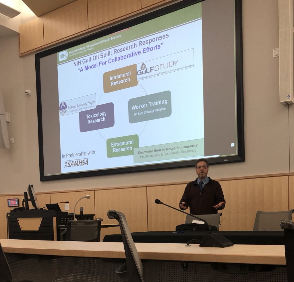 "Keynote speaker Aubrey Miller of NIEHS speaks at the Symposium on ""Efforts to Promote Vital Data Collection and Research in Response to Disasters."""