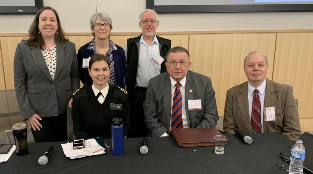 """Panelists from the """"Panel on Practical Applications in Occupational Safety and Health in Disaster Response."""" Top (Left to Right): Christine Knezevich, Susan Buchanan, John Morawetz. Bottom (Left to Right): Lisa Delaney, William Jetter, Mark Johnson"""